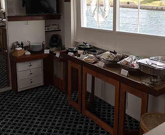 yacht catering buffet