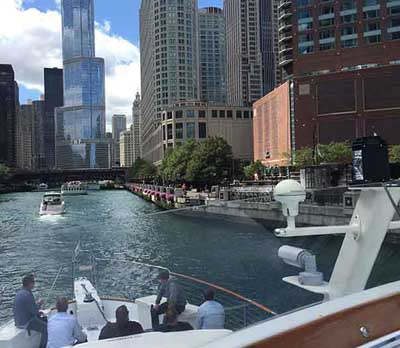 Adeline's Sea Moose Chicago private yacht rental charter impress clients