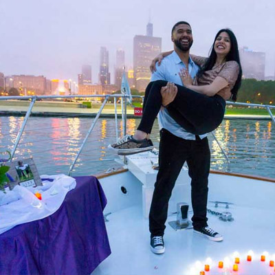 Adeline's See Moose Chicago private yacht rental for marriage proposals