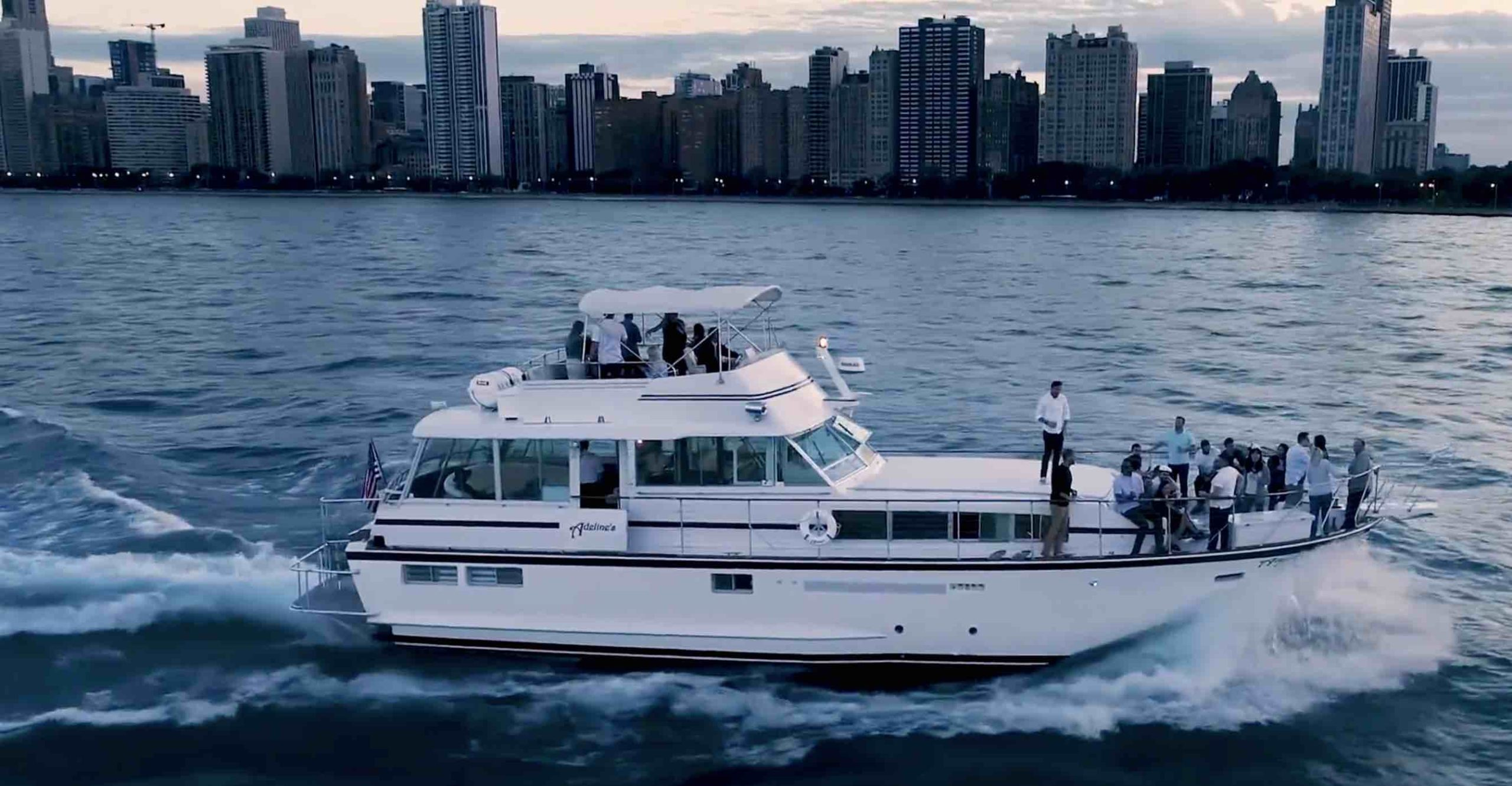 Chicago private yacht rental charter overnight salon bar