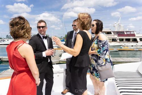 Skyline wedding ceremony aboard Adeline's Sea Moose