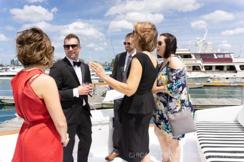 Skyline wedding ceremony aboard Adeline's Sea Moose
