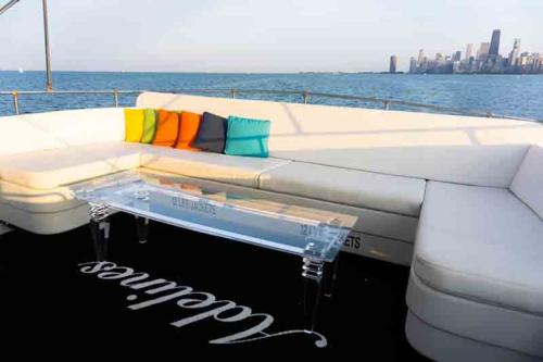 Chicago Private Yacht Rentals Flybridge and Lounge with 360 Viewing