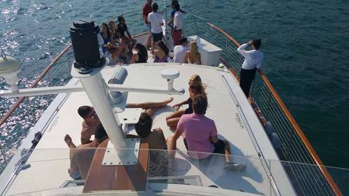 Friends enjoying friends aboard Adeline's Sea Moose